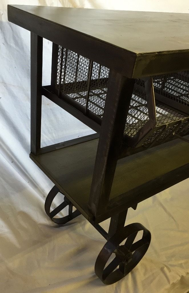 Metal fabricated Console Table/Cart, with 4 pull-out baskets and shelf. Suitable for Retail Use