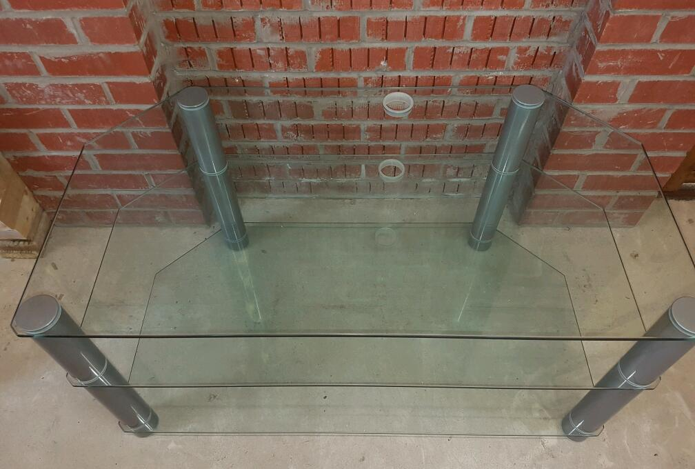 GLASS TV STAND. VERY THICK GLASS. BARGAIN