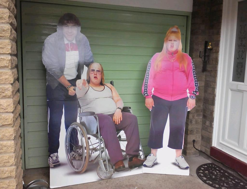 Andy and lou and Vicky Pollard life-size cardboard cutouts.