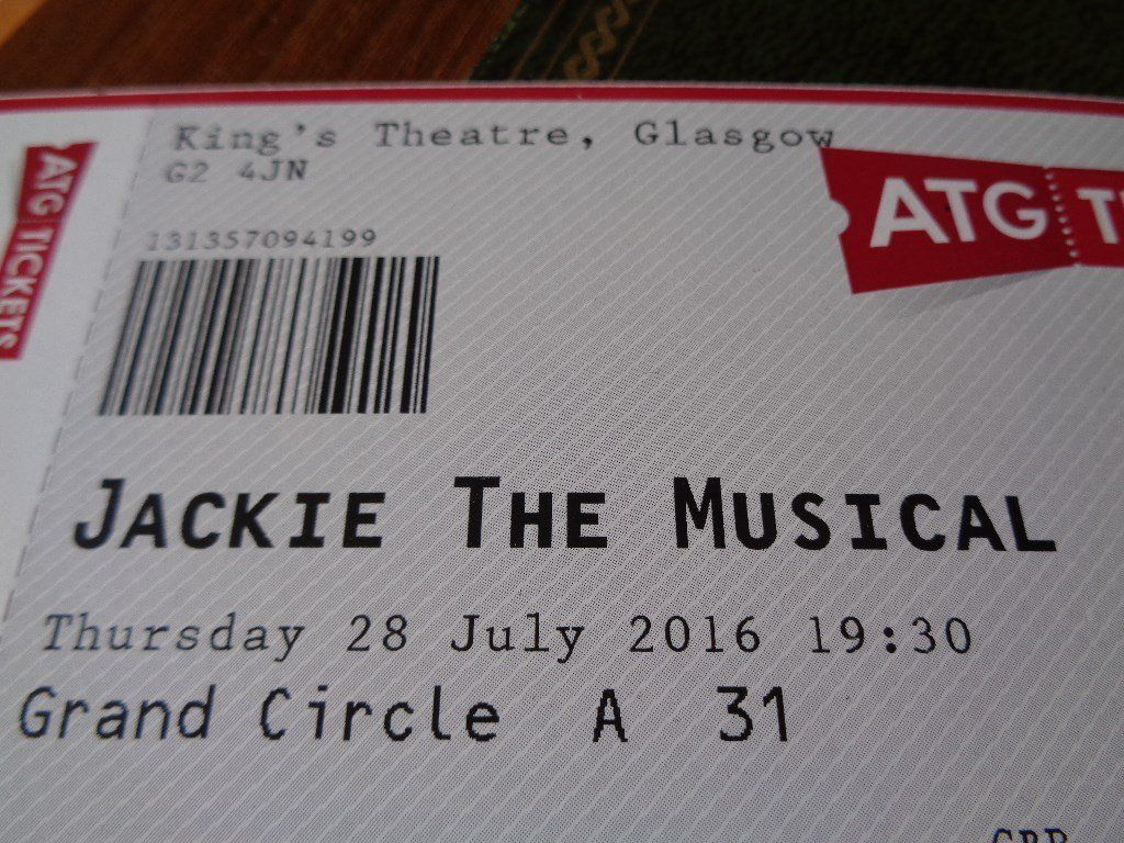 Two Tickets to Jackie the Musical King's Theatre, Glasgow Thursday 28.7.16 at 7.30pm