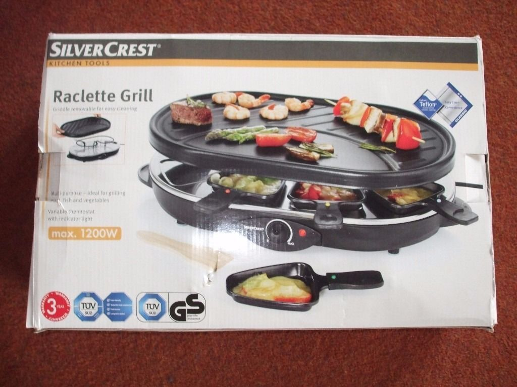 Silver Crest Teflon Raclette Grill, New and in box.