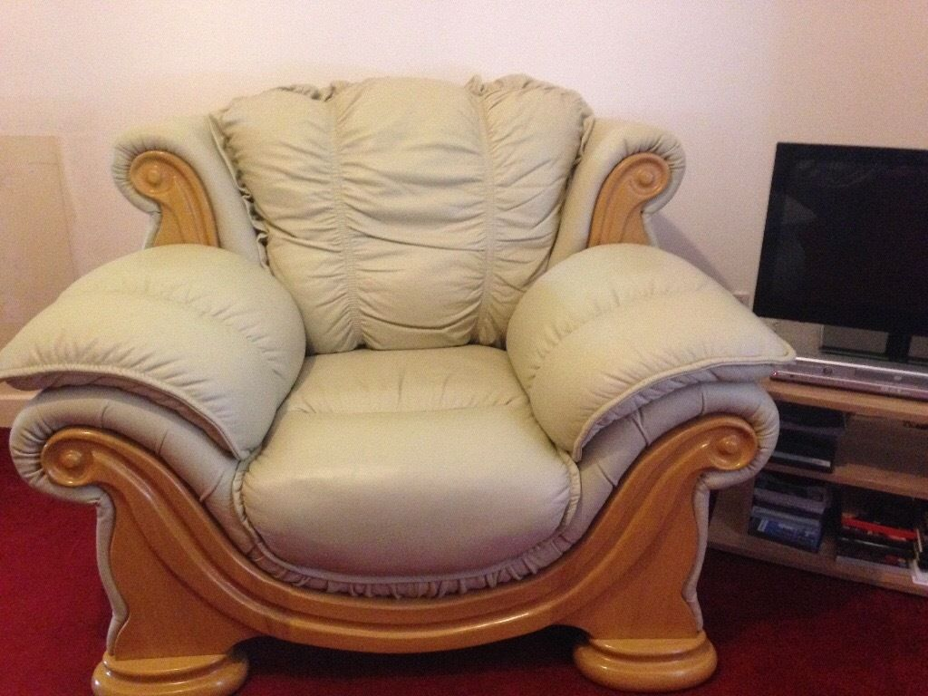 3 Piece Cream Leather Suite