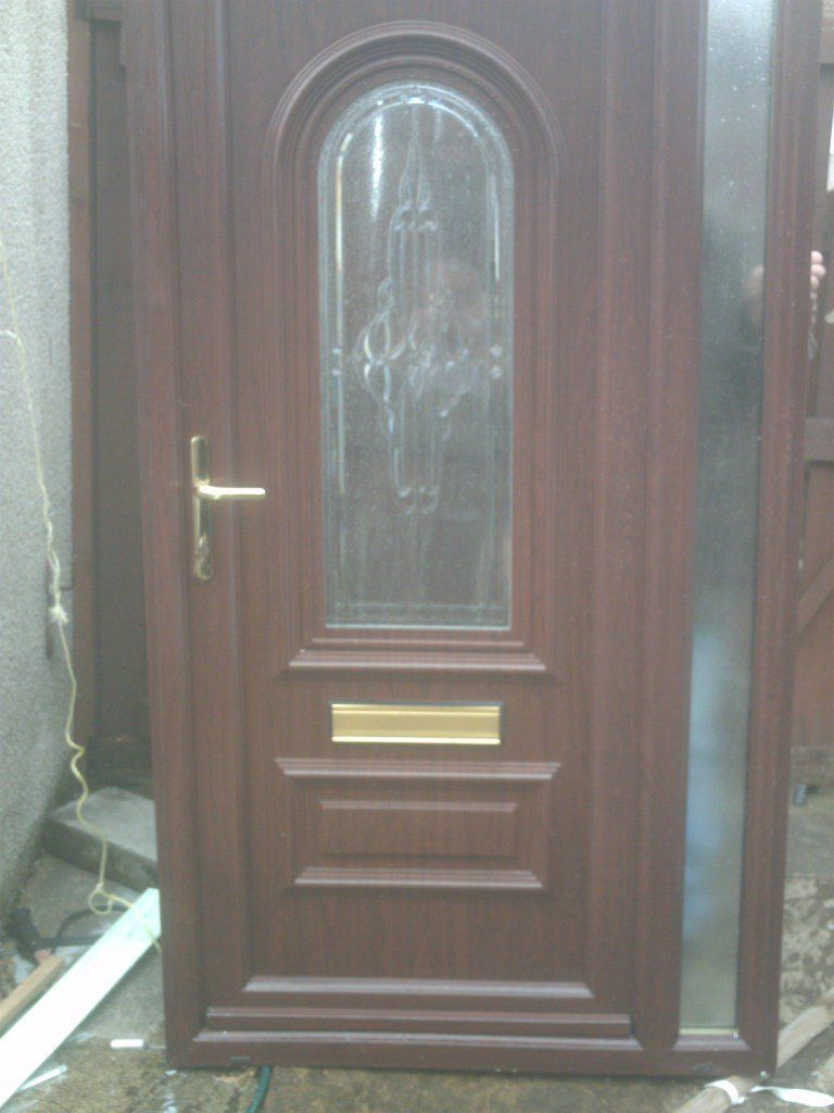 rose wood out side white in side upvc external door size H 81 1/2 in W43 in