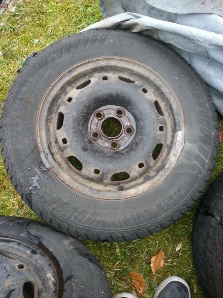 4x steel wheels and tyres PCD 5x100