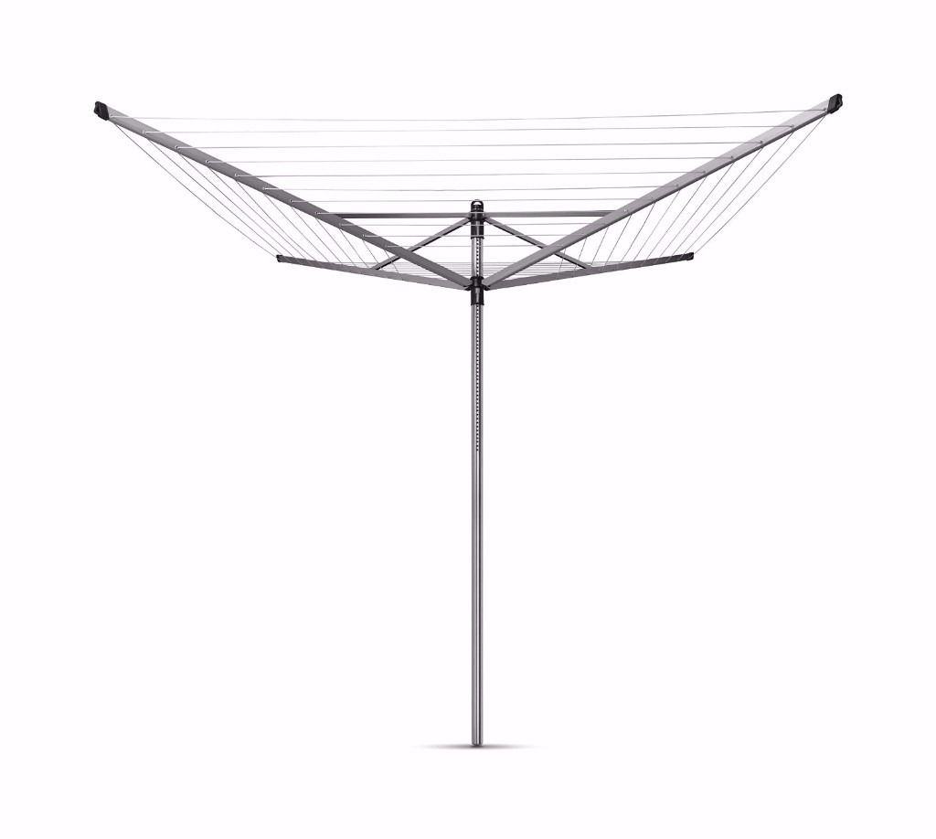 Brabantia Lift-O-Matic Rotary Airer Washing Line with 45 mm Metal Soil Spear, 50 m - Silver