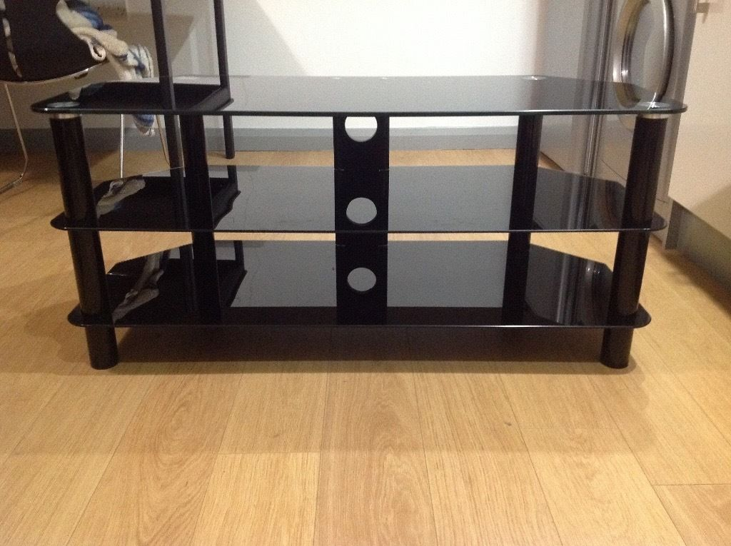 Black Glass TV Stand - As New