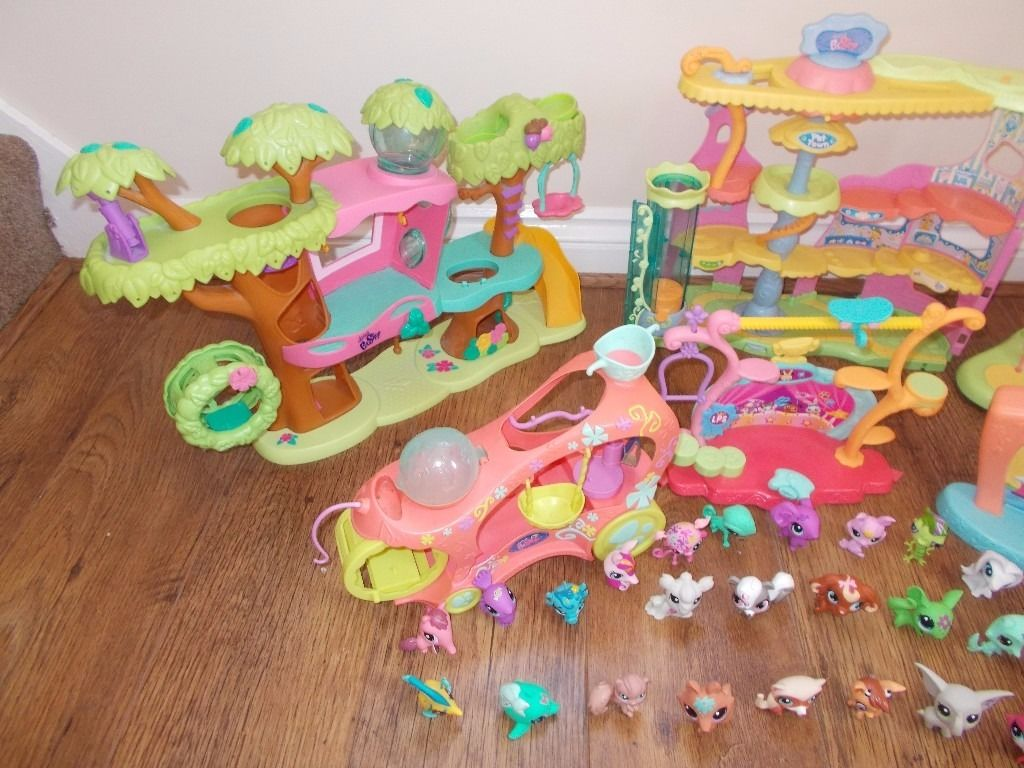 BUNDLE LITTLE LITTLEST PET SHOP HOUSES PLAYGROUND PLAYSET LOTS OF FIGURES