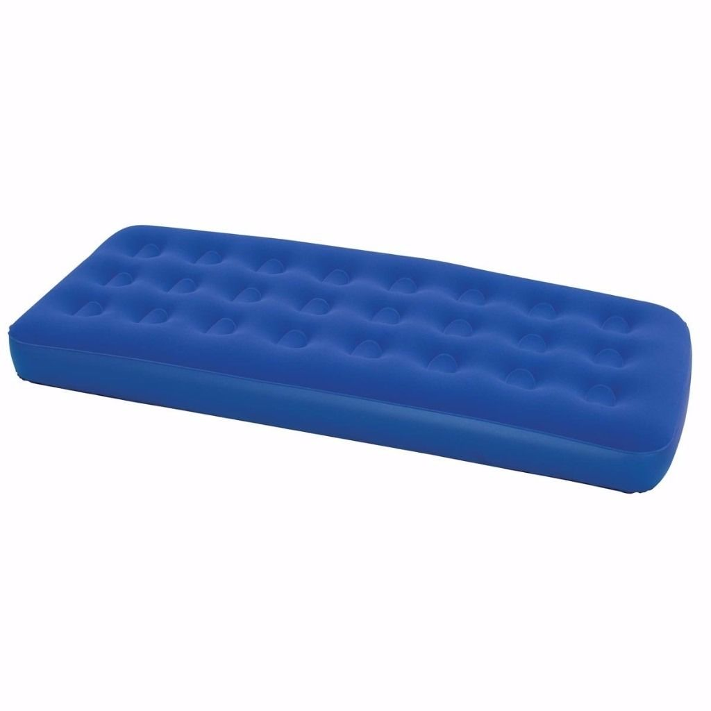 AIRBED/MATTRESS AND FOOTPUMP, BOTH NEW, SINGLE SIZE, DARK BLUE PADDED FLOCK MATERIAL