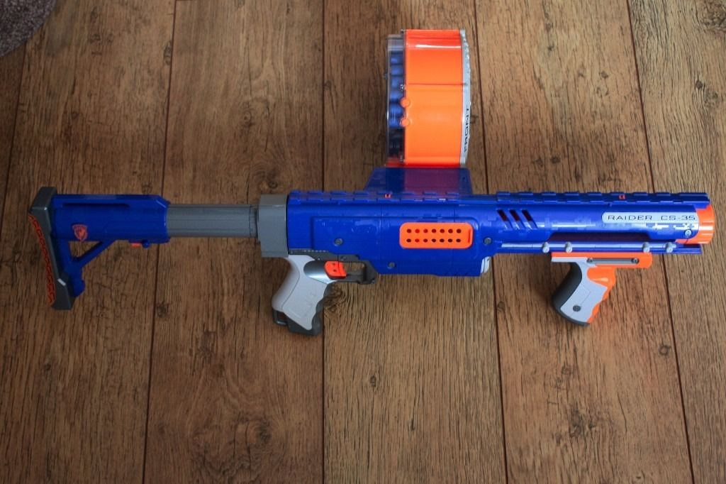Nerf Gun (Large) N-Strike Raider Rapid Fire CS-35 - 3 Parts with 35 Bullets, Stock and Ammo Drum