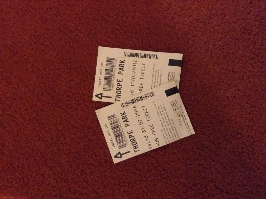 2 x Thorpe Park Tickets for 31/7 /2016