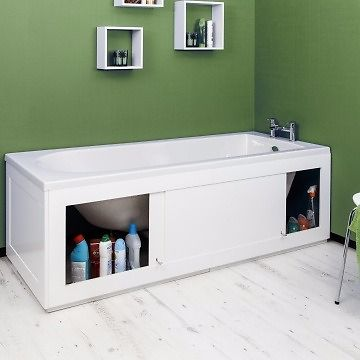 White bath front panel with sliding storage door - new in box