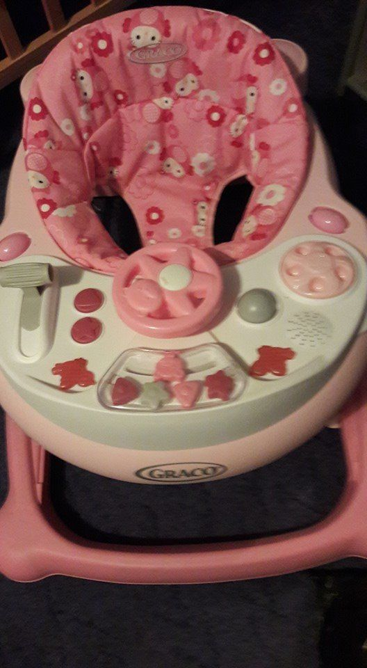 pink baby walker good condition not used much