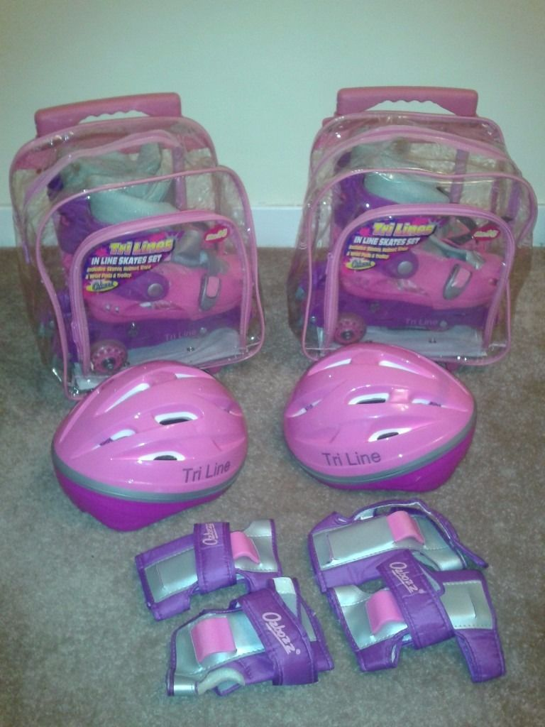 TRI-LINE girls inline skate set inc helmet, skates, knee, wrist & elbow pads