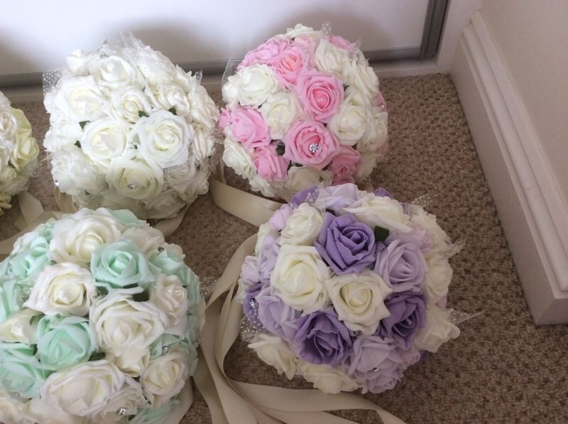 Wedding centrepiece flowers, pastel wedding theme