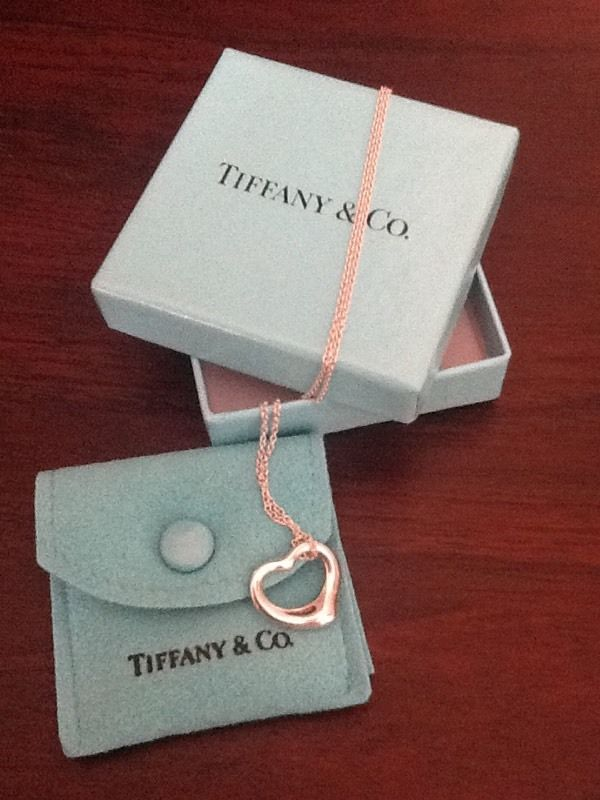 Genuine Silver Tiffany Open Heart Necklace 16""