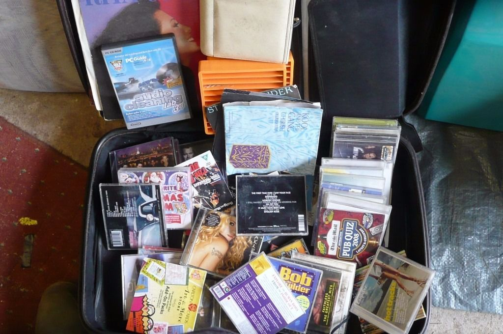 CAR BOOT. JOB LOT. cd:s. records, cd cases. cd stands. plus suitcase