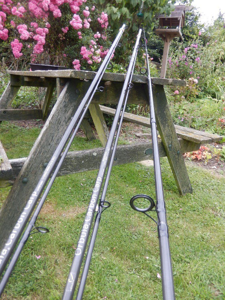 3 x ORBULA carbon carp fishing rods - 12 foot long - good condition- will sell singly