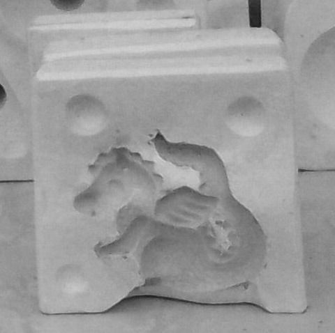 CERAMIC SLIP MOULD OF A BABY DRAGON 4INCHES HIGH