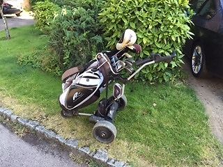 Powakaddy, classic legend electric golf trolley, ideal for small boot