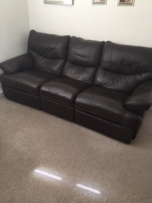 2 & 3 seat brown leather sofa's