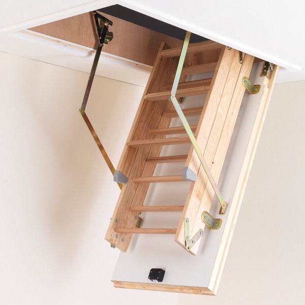 Loft ladder with hatch and hand rail