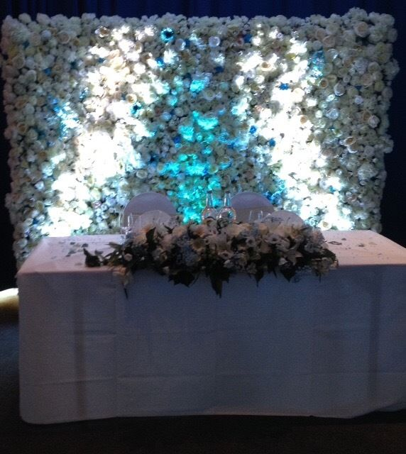 Flower wall for hire wedding engagement event bride table centrepiece backdrop LED letters