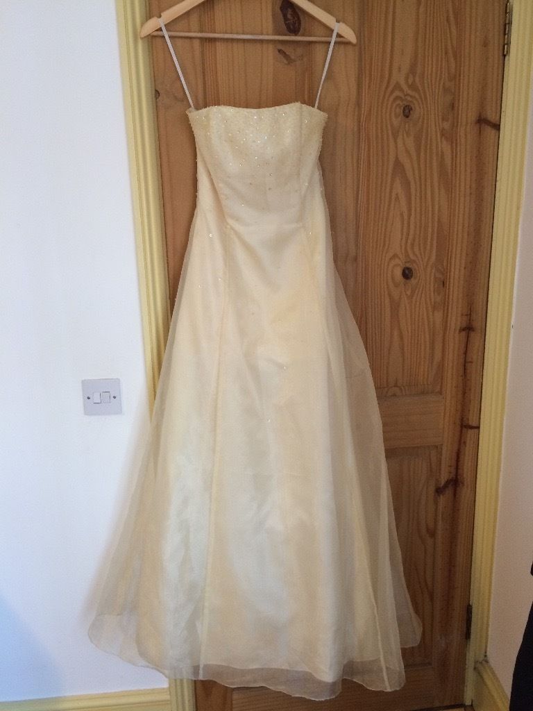 Pale Yellow Strapless Jessica McClintock Prom Dress/Evening Gown Size USA 5 (about UK 8)