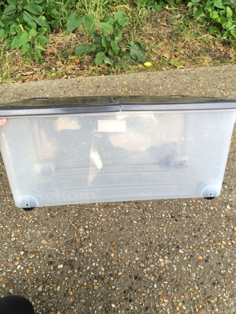 Plastic wheeled box in good condition