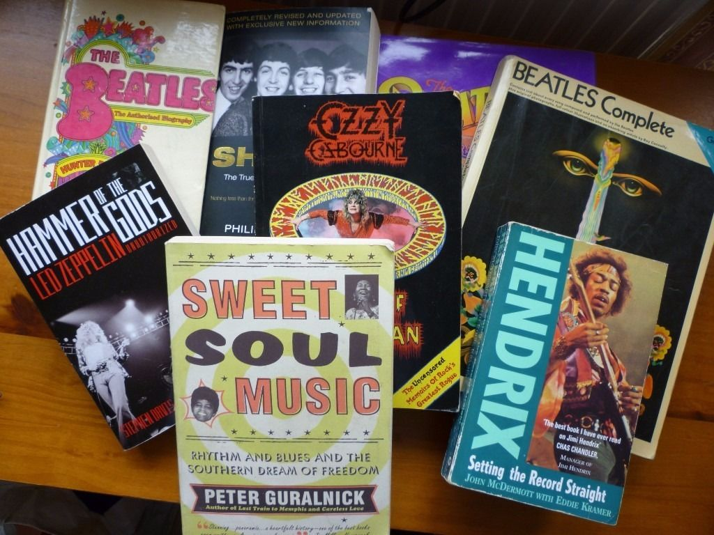 COLLECTION OF MUSIC RELATED BOOKS INCLUD. BEATLES, OZZY OSBOURNE ETC