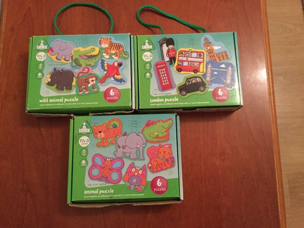 ELC 3 boxes of puzzles age 1,5 to 3 year old