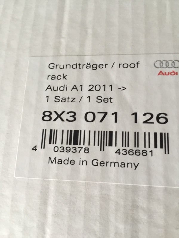 Audi A1 Roof Bars (Brand New) 2011 onwards
