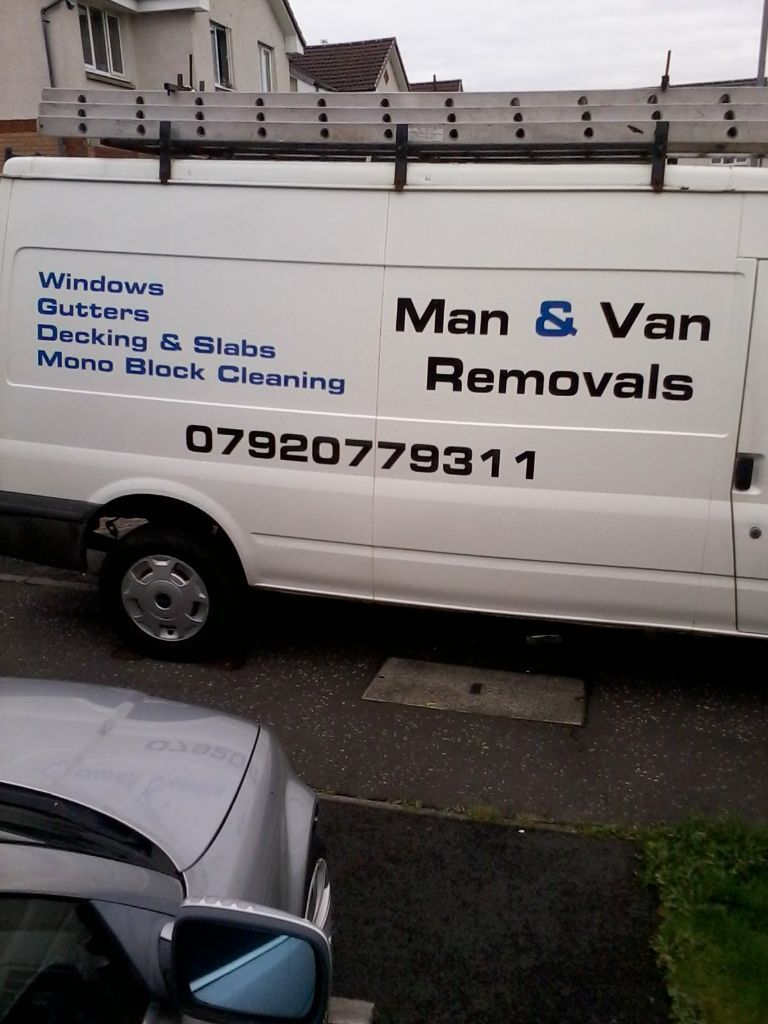 MAN AND VAN WITH LWB TRANSIT VAN COVER WHOLE OF GLASGOW STORES,HOUSES,CALL OR TEXT FOR QUOTE