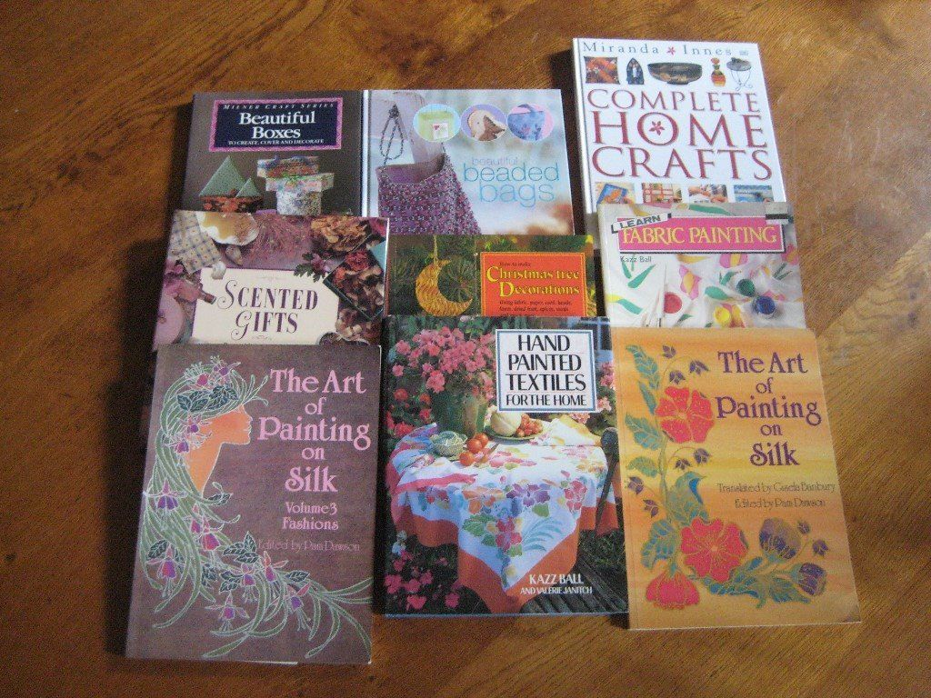 Collection of Books relating to Painting on Silk, Fabric, Home Crafts, Painted Textiles, Stumpwork