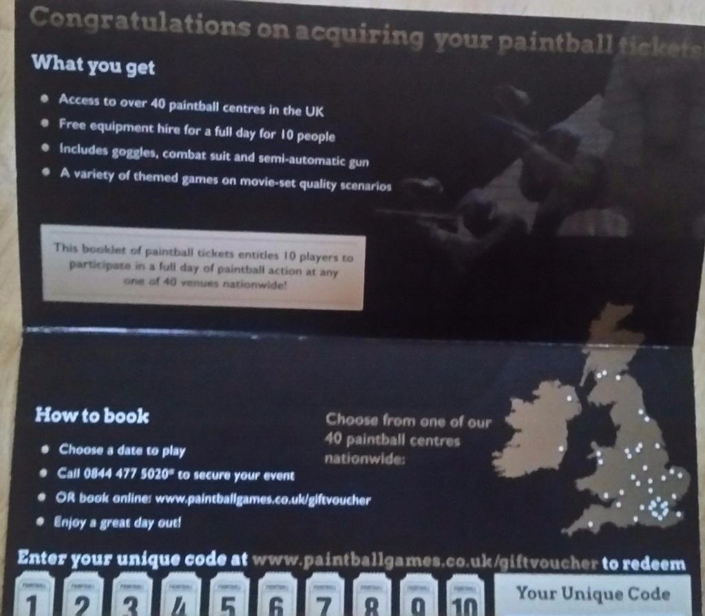 Paintball vouchers for sale