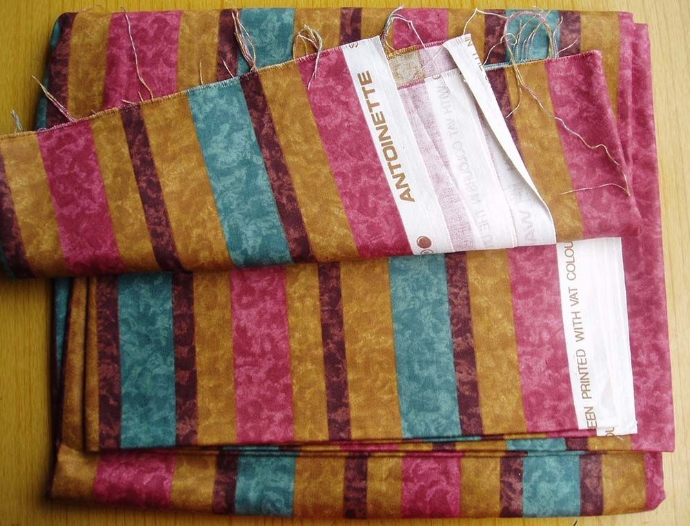 FABRIC - AUTUMNAL COLOURED STRIPES, MARBLED BACKGROUND, curtain weight. COLLECTION ONLY