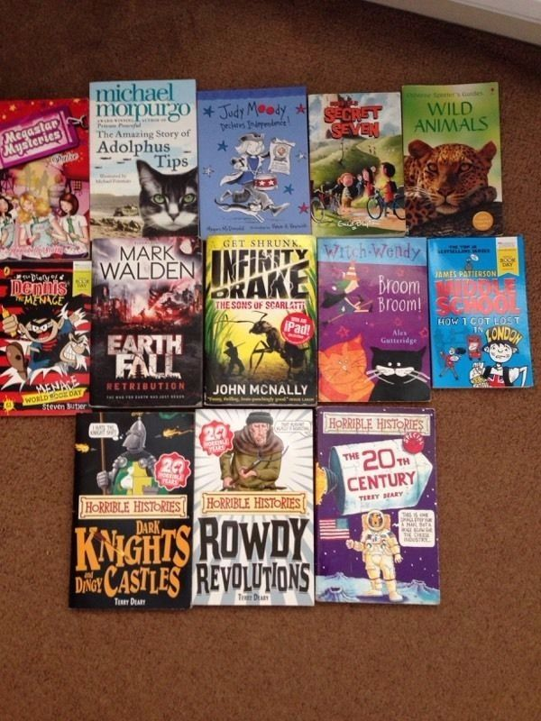 Various children's books including horrible histories, just moody