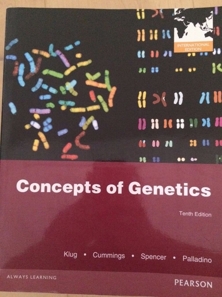 Concepts of Genetics, 10th Edition. Klug, Cummings, Spencer, Palladino.