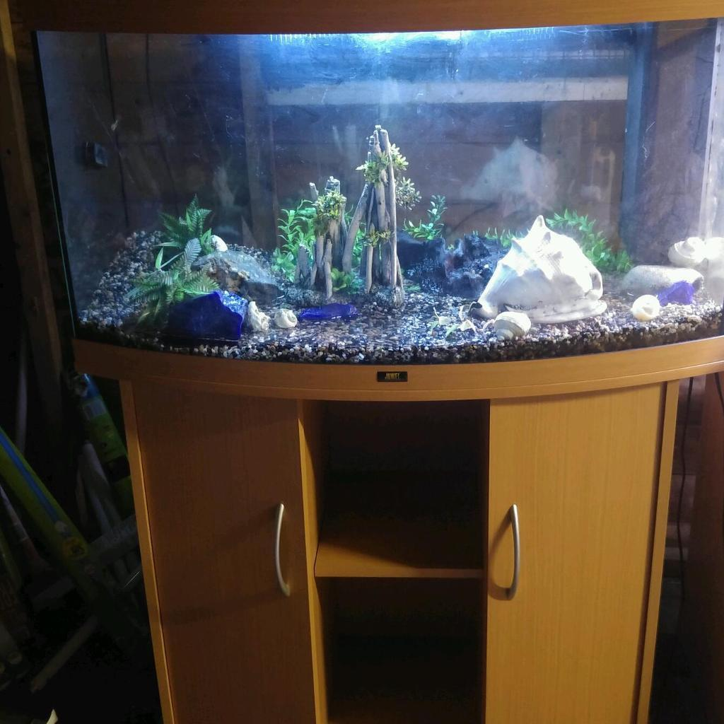 3 FT JEWEL VISION BOWFRONT 180 LITRE FISHTANK WITH BEECHWOOD CABINET