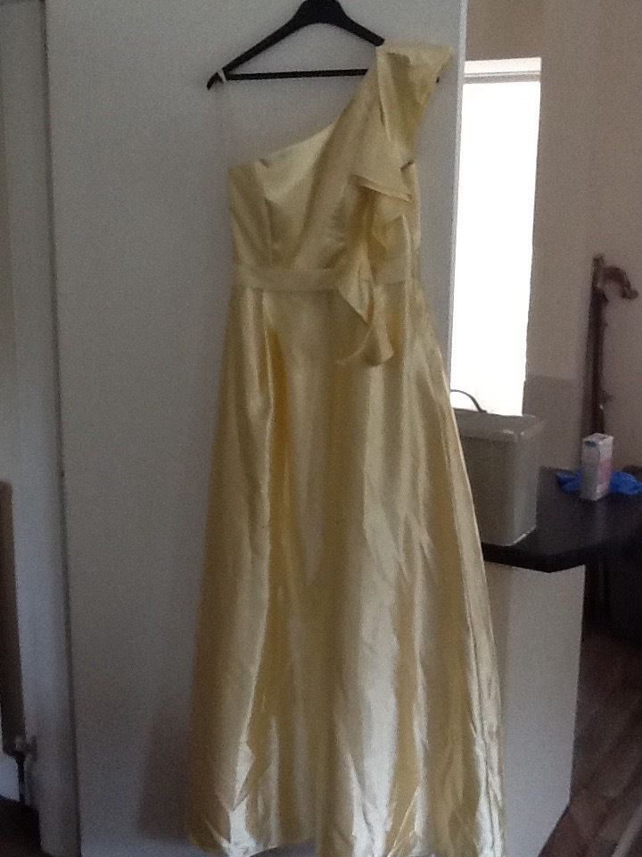Yellow satin bridesmaid dresses