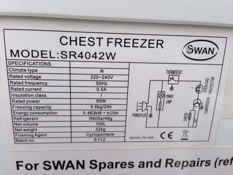 Swan Chest Freezer.Delivery Offered