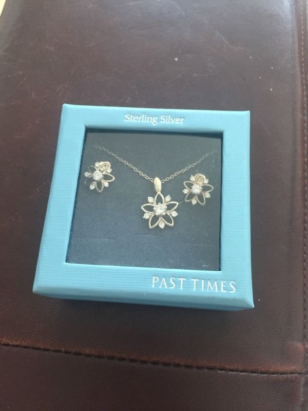 Brand new PAST TIMES sterling silver necklace and earrings set