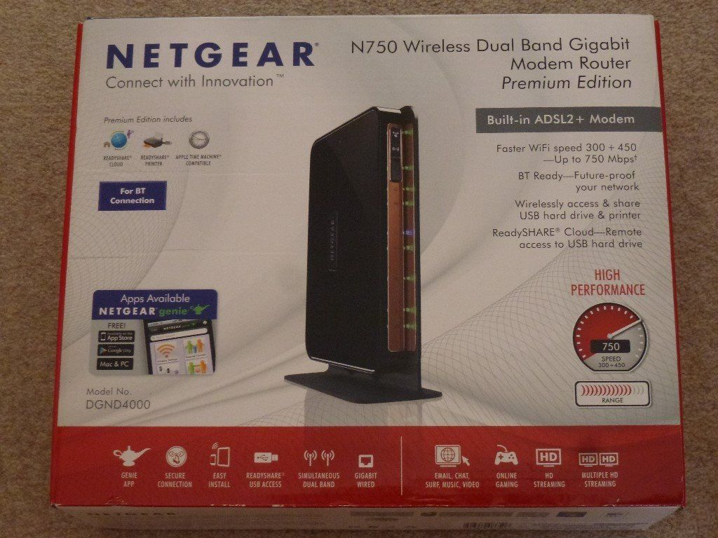 Netgear N750 Wireless Dual Band Gigabit Modem Router, Premium Edition
