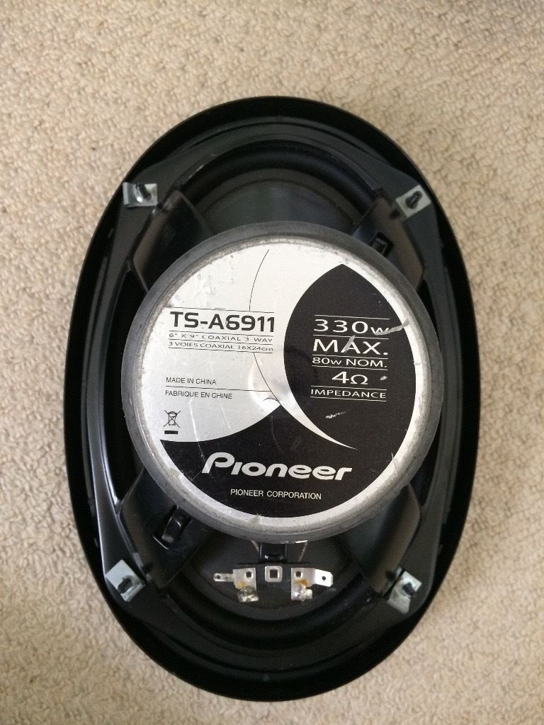 Pair of Pioneer 6x9 Coaxial 3 way speakers (TS-A6911) 330W Max 80W Nom 4 Ohm
