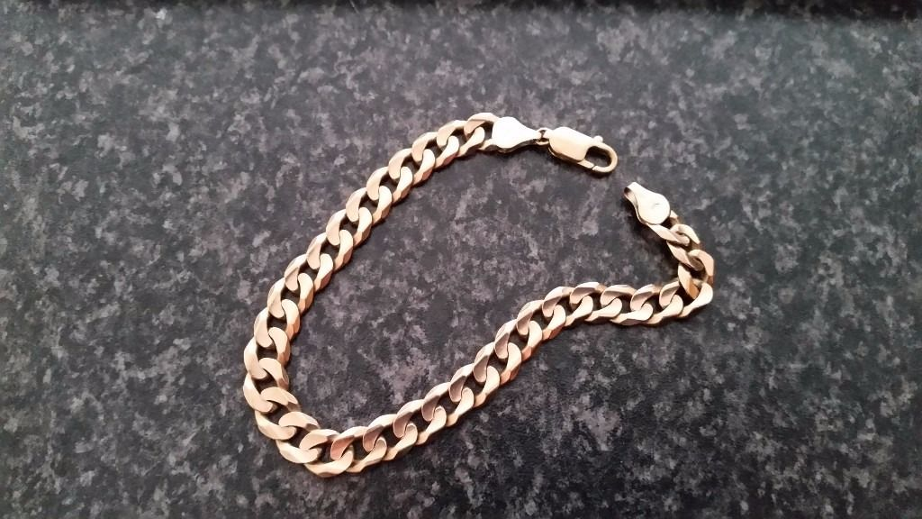 Mens 9ct Yellow Gold (375)made in italy-Solid Curb Chain Bracelet L23cm
