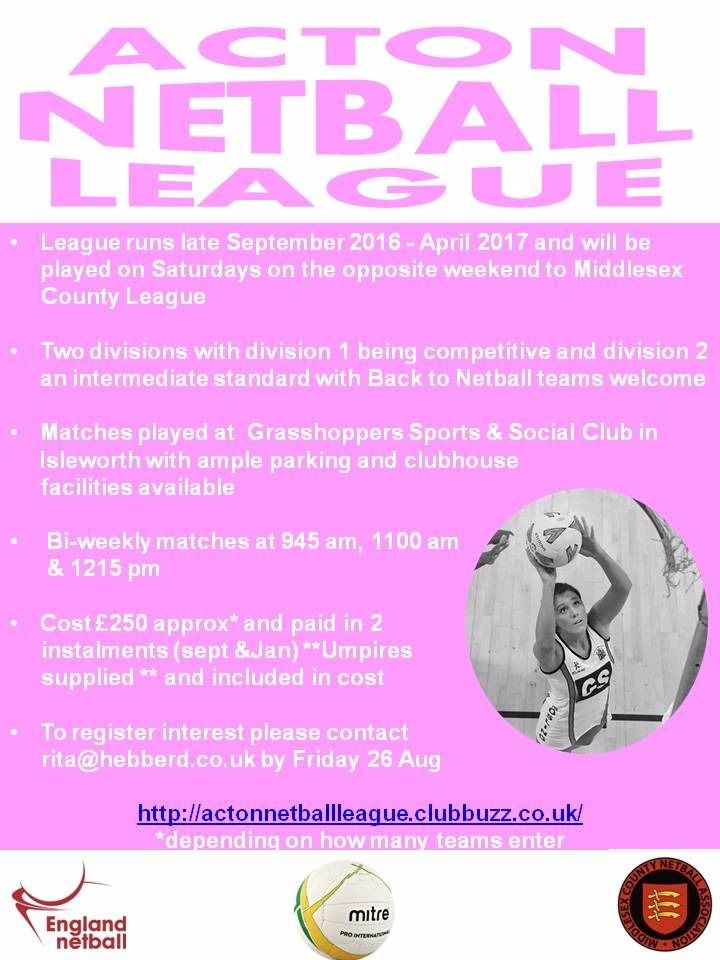 Acton (Saturday) Netball League - new teams welcome for 16/17 season