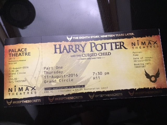 2 Tickets for Harry Potter and the Cursed Child Part 1 and 2, London, August 2016