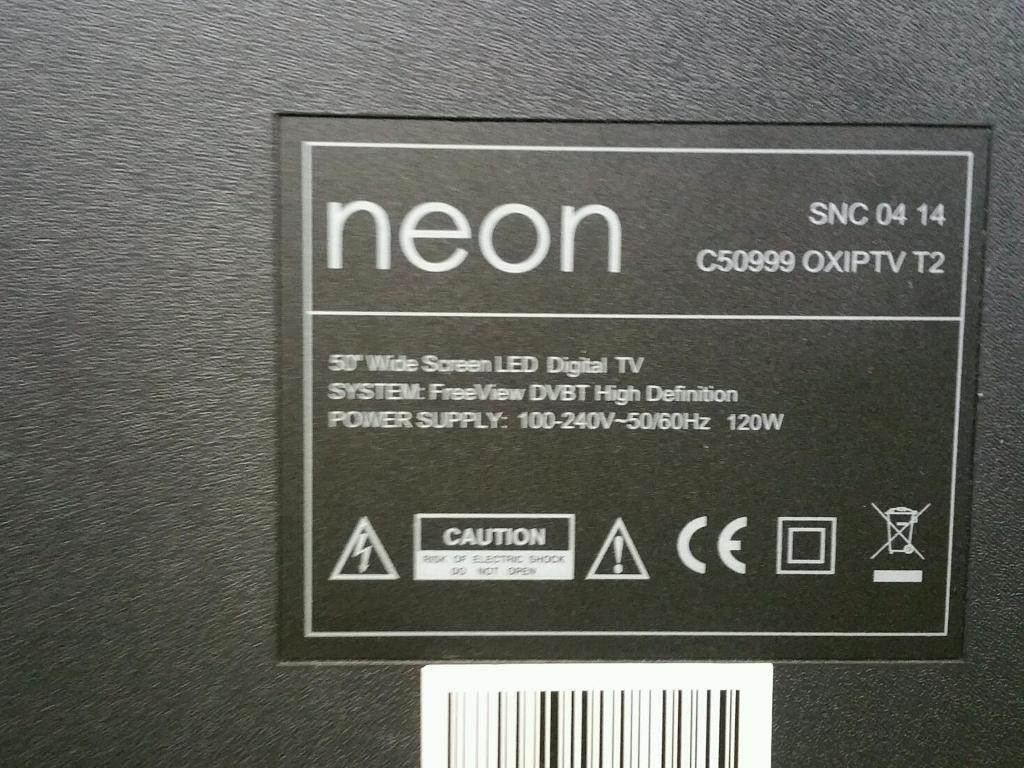 "Neon 50 "" inch led TV ultra thin no picture"
