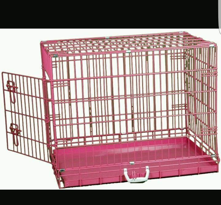 Pink dog/cat cage