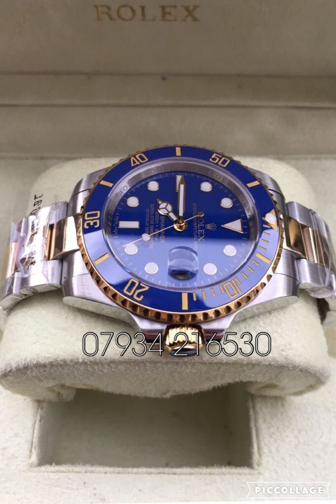 Rolex submariner oyster diver 40mm blue bi-metal gold & silver luxury automatic watch new in box