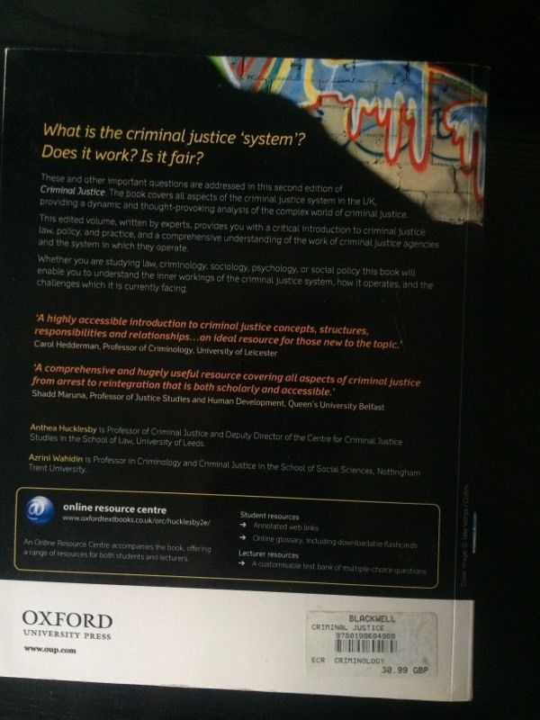 'Criminal Justice' book edited by Anthea Hucklesby and Azrini Wahidin (2nd edition)